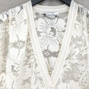 Vintage CHRISTIAN DIOR Ivory Lace Caftan Dress